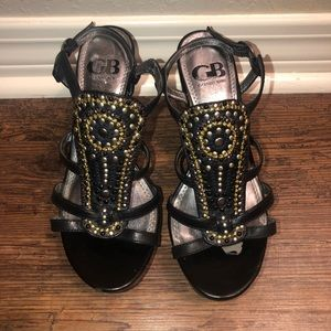 Black Wedges with Gold and Silver Details